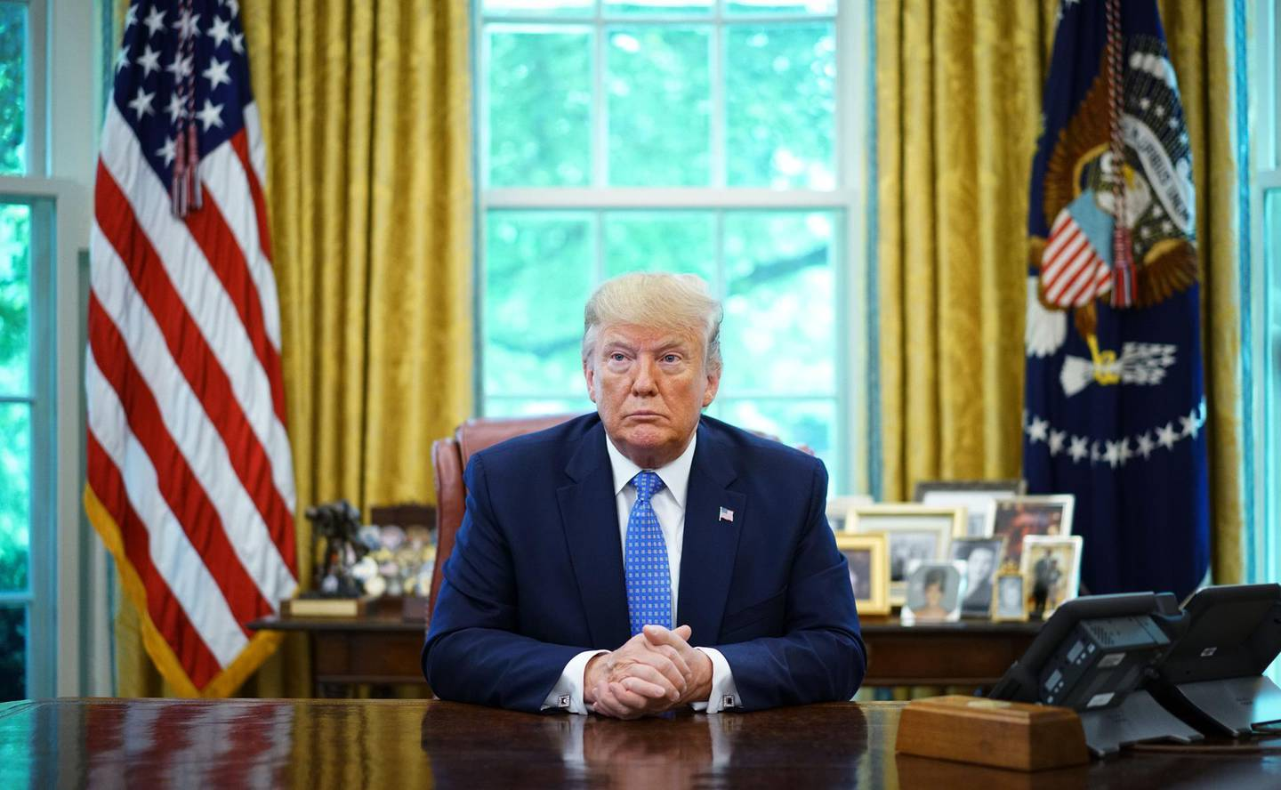 US President Donald Trump speaks during a meeting with advisors about fentanyl in the Oval Office of the White House in Washington, DC on June 25, 2019.  / AFP / MANDEL NGAN