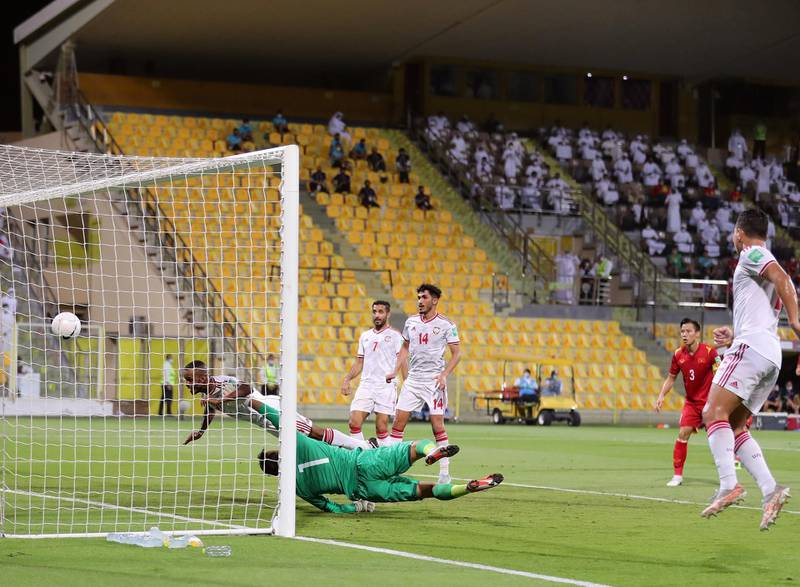 UAE's Mahmoud Khamis scores during the game between the UAE and Vietnam in the World cup qualifiers at the Zabeel Stadium, Dubai on June 15th, 2021. Chris Whiteoak / The National.  Reporter: John McAuley for Sport