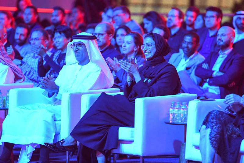 Abu Dhabi, United Arab Emirates - H.E. Dr. Mugheer Khamis Al Khaili, and Noura Kaabi at the opening night of the first Middle East outpost of Berklee College of Music in Abu Dhabi, Al Saadiyat. Khushnum Bhandari for The National