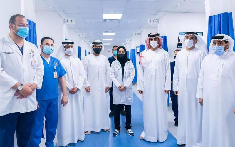 Sheikh Ammar bin Humaid Al-Nuaimi, Crown Prince of Ajman, visits the new field hospital. Instagram/ aj.ammar