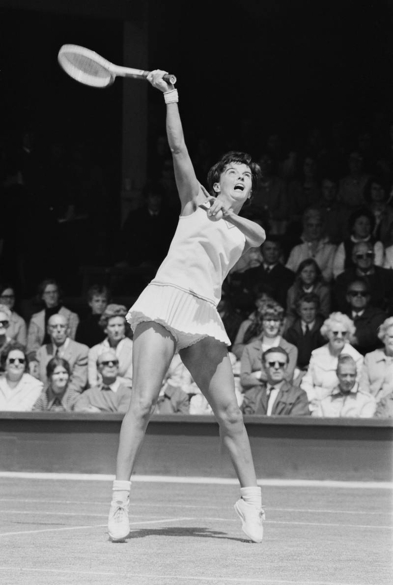 Australian tennis player Kerry Melville (later Kerry Reid) during a match against Judy Dalton (nee Tegart) at Wimbledon, London, UK, 28th June 1971. (Photo by William Lovelace/Daily Express/Getty Images)