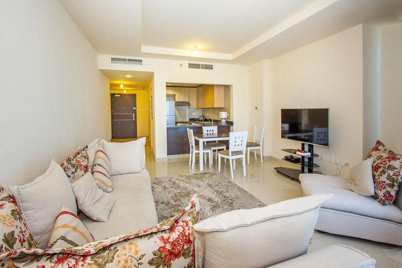 This 2-bedroom apartment in Sun Tower in Abu Dhabi's Reem Island offers views of the sea and mangroves. Courtesy Crompton Partners Estate Agents