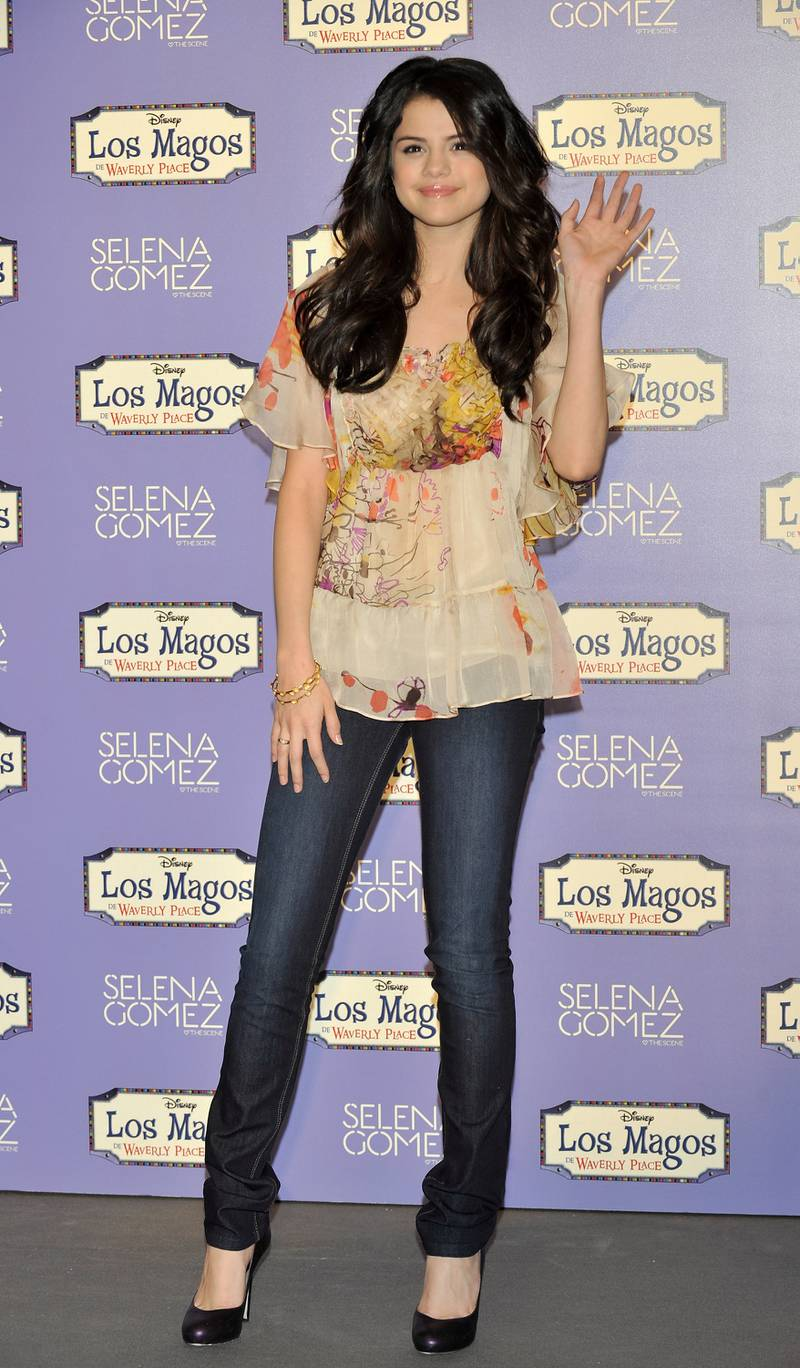 """MADRID, SPAIN - MARCH 29:  Actress and singer Selena Gomez presents her new album """"kiss and Telli"""" at the Disney Chanel on March 29, 2010 in Madrid, Spain.  (Photo by Carlos Alvarez/Getty Images)"""