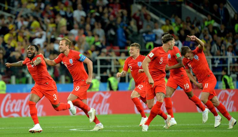 epa06862514 Players of England celebrate winning the FIFA World Cup 2018 round of 16 soccer match between Colombia and England in Moscow, Russia, 03 July 2018.  (RESTRICTIONS APPLY: Editorial Use Only, not used in association with any commercial entity - Images must not be used in any form of alert service or push service of any kind including via mobile alert services, downloads to mobile devices or MMS messaging - Images must appear as still images and must not emulate match action video footage - No alteration is made to, and no text or image is superimposed over, any published image which: (a) intentionally obscures or removes a sponsor identification image; or (b) adds or overlays the commercial identification of any third party which is not officially associated with the FIFA World Cup)  EPA/PETER POWELL   EDITORIAL USE ONLY