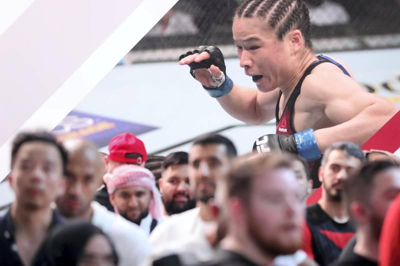 Abu Dhabi, United Arab Emirates - September 06, 2019: People gather at the UFC fan zone. Friday the 6th of September 2019. Yes Island, Abu Dhabi. Chris Whiteoak / The National