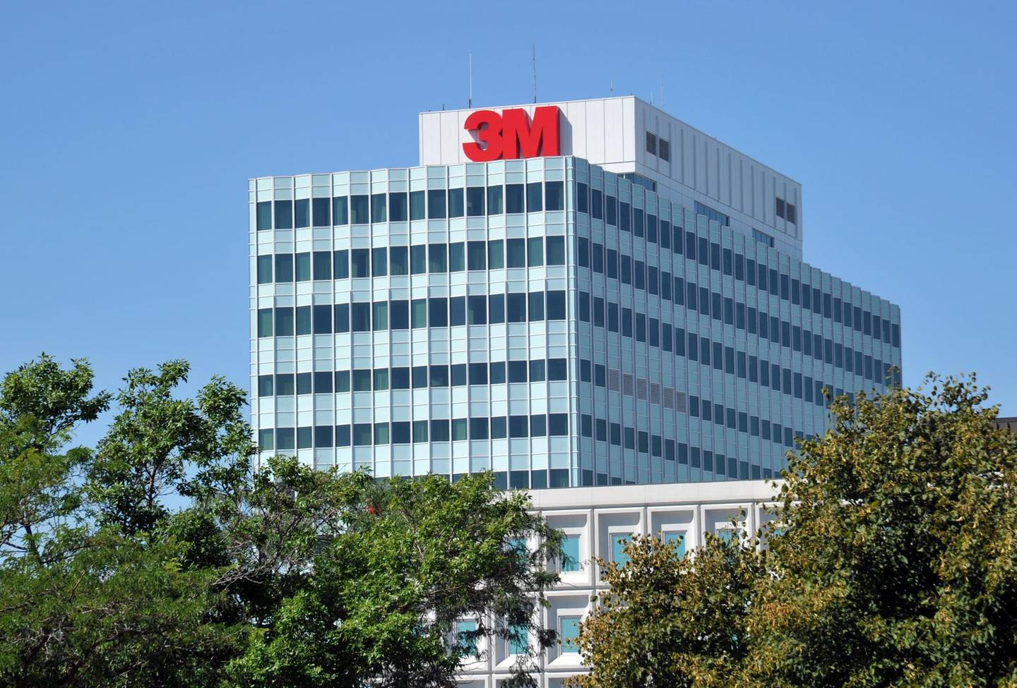 (FILES) In this file photo taken on August 25, 2011, the 3M headquarters in Woodbury, Minnesota. 3M on April 3, 2020, defended its handling of production and distribution of desperately needed masks to combat the coronavirus pandemic after US President Donald Trump threatened to punish the US manufacturing giant  for not shifting all distribution back home. / AFP / KAREN BLEIER
