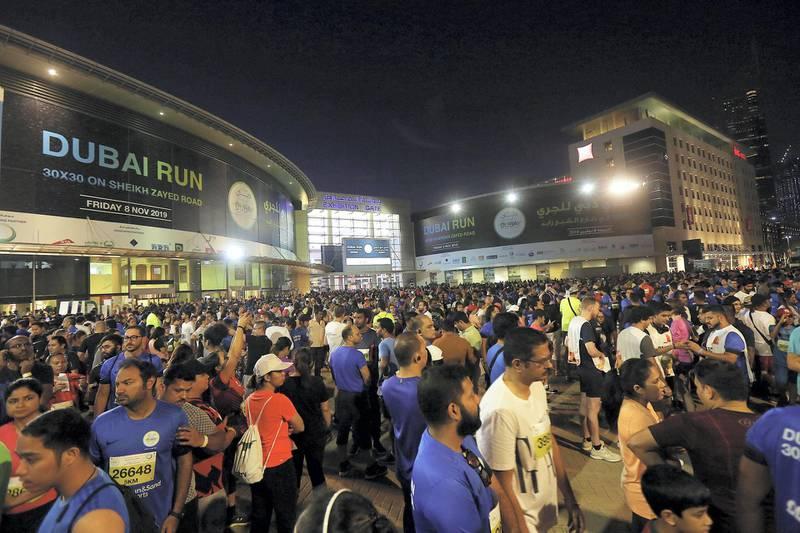 Dubai, October, 08 2019: People  arrive to participate in the Dubai Run in Dubai . Satish Kumar/ For the National