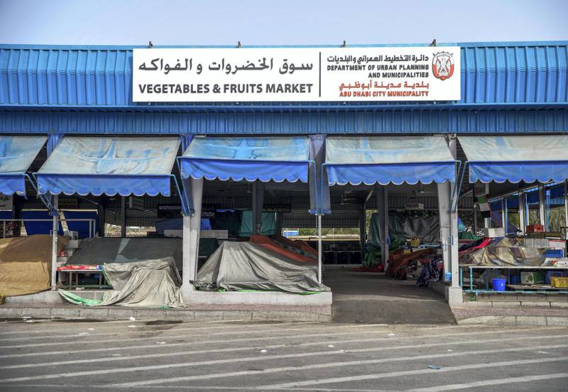 Abu Dhabi, United Arab Emirates, March 27, 2020.  The Vegetables and Fruit Market on the first day of the UAE cleaning campaign.  Emiratis and residents across the UAE must stay home this weekend while a nationwide cleaning and sterilisation drive is carried out. Victor Besa / The National