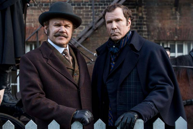 SHERLOCK HOLMES (Will Ferrell) and WATSON (John C. Reilly) in Columbia Pictures' HOLMES AND WATSON. Courtesy Sony Pictures