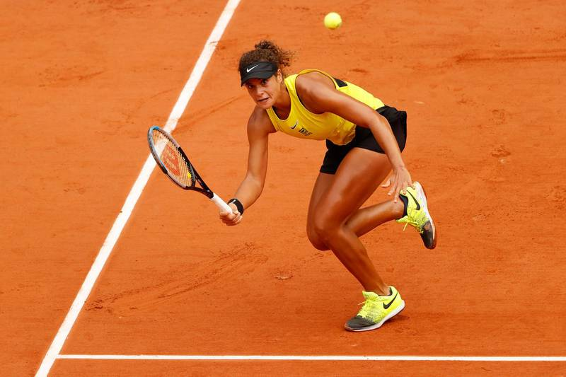 PARIS, FRANCE - SEPTEMBER 29: Mayar Sherif of Egypt plays a forehand during her Women's Singles first round match against Karolina Pliskova of Czech Republic on day three of the 2020 French Open at Roland Garros on September 29, 2020 in Paris, France. (Photo by Clive Brunskill/Getty Images)