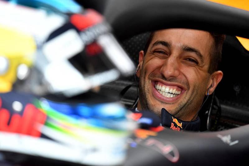 Red Bull Racing's Australian driver Daniel Ricciardo reacts in the pits after the first practice session at the Monaco street circuit on May 24, 2018 in Monaco, ahead of the Monaco Formula 1 Grand Prix. / AFP / Andrej ISAKOVIC