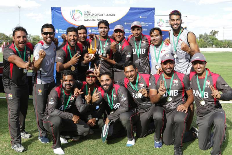 ICC World Cricket League. Division 2 - Namibia 2018. UAE cricket team at the closing ceremony. Courtesy ICC World Cricket League