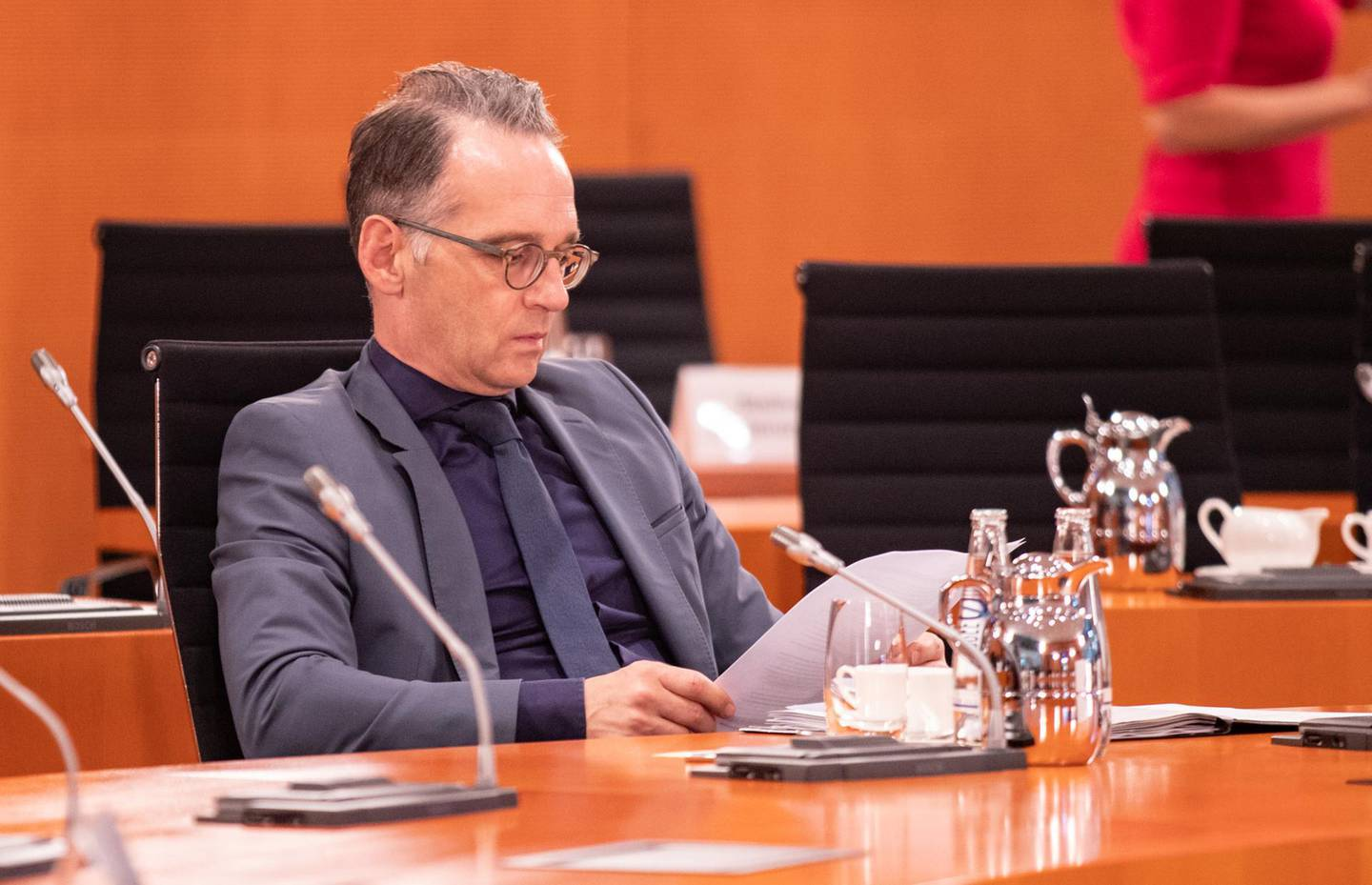 BERLIN, GERMANY - SEPTEMBER 16: Federal Minister for Foreign Affairs Heiko Maas (SPD) during the weekly Government Cabinet Meeting on September 16, 2020 in Berlin, Germany. (Photo by Andreas Gora - Pool/Getty Images)