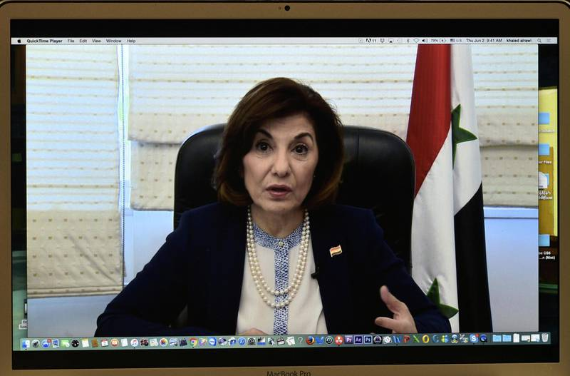 Bouthaina Shaaban, political and media adviser to the Syrian President Bashar Al-Assad, speaks via Skype during a press conference organized by The Global Alliance for Terminating ISIS/Al-Qaeda on June 2, 2016 at the National Press Club in Washington, DC. (Photo by AFP)