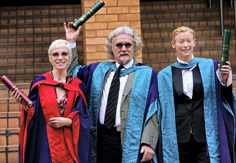 GLASGOW, UNITED KINGDOM - JULY 04:  Billy Connolly, Annie Lennox and Tilda Swinton pose after receiving honorary degrees from the Royal Scottish Academy of Music and Drama July 4,2006,Glasgow in Scotland.  (Photo by Jeff J Mitchell/Getty Images)