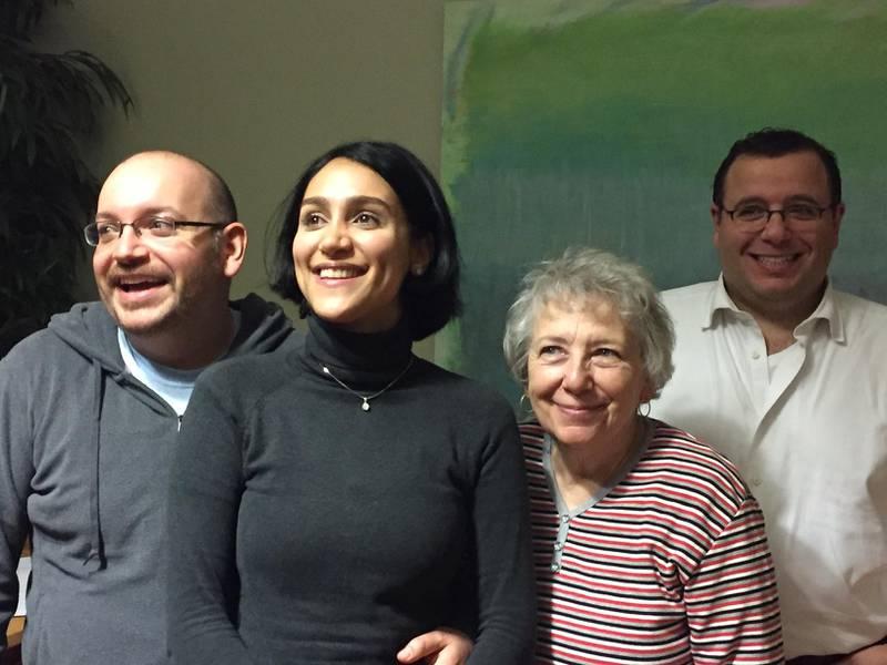 Jason Rezaian with his wife Yeganeh Salehi, mother Mary Rezaian and brother Ali Rezaian. Courtesy Martin Baron / Washington Post/The Washington Post  *** Local Caption ***  sp19ja-Pg3_Rezaian.JPG