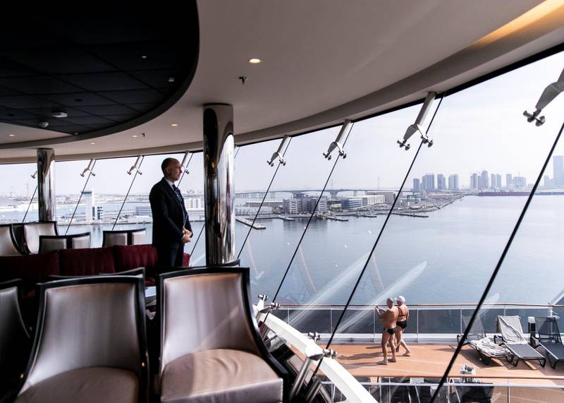 ABU DHABI, UNITED ARAB EMIRATES. 8 DECEMBER 2019. Abu Dhabi seen from MSC Bellissima  which arrived today at Abu Dhabi Cruise Terminal.(Photo: Reem Mohammed/The National)Reporter:Section: