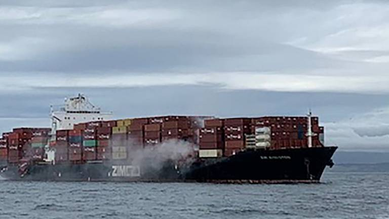 An image that illustrates this article Container ship catches fire off Canadian coast