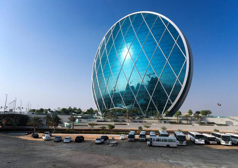 Abu Dhabi, United Arab Emirates, October 5, 2020.  Hazy and foggy weather at Aldar HQ,  Al Raha Creek, Abu Dhabi.Victor Besa/The NationalSection:  NAFor:  weather/standalone