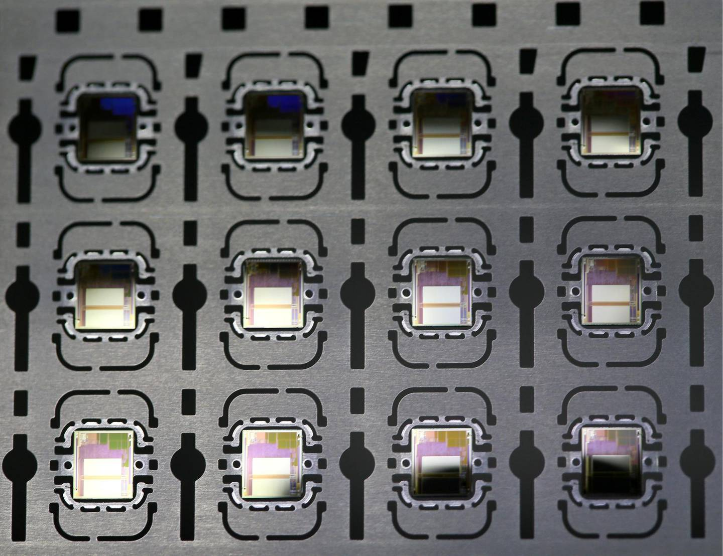 MOSCOW, RUSSIA - JULY 24, 2019: A microchip fabrication line at the Zelenograd plant of the Mikron company producing integrated circuits for access-protected data carriers, IDs, bank and travel cards, etc. Vladimir Gerdo/TASS (Photo by Vladimir Gerdo\TASS via Getty Images)