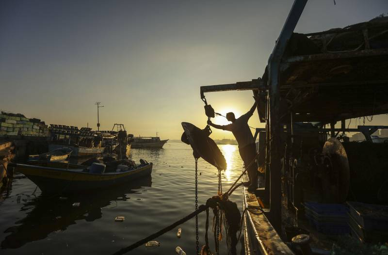 Palestinian fishermen arrive back from a fishing trip at the port of Gaza City on  27 June 2018.For hours every morning the fishermen wade through the surf on the beach or paddle a few hundred yards off the coast casting their small nets to bring back food for their families. The fishermen agree that there are less and less fish to be caught off the beach because raw sewage being dumped into the ocean is driving the fish further out to sea. By Wissam Nassar.