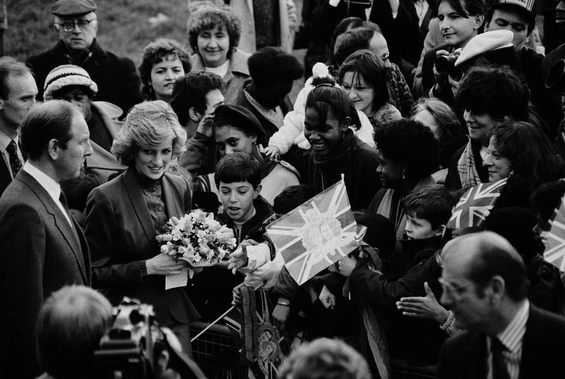 Diana, Princess of Wales (1961-1997) meets members of the public during a royal visit to a community centre in north London, England, 1st February 1985. (Photo by McKeown/Daily Express/Hulton Archive/Getty Images)