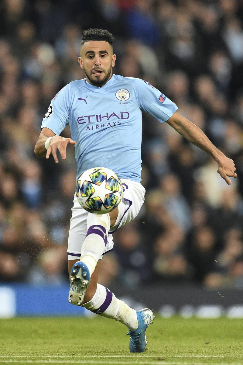 Manchester City's Algerian midfielder Riyad Mahrez controls the ball during the UEFA Champions League Group C football match between Manchester City and Atalanta at the Etihad Stadium in Manchester, northwest England on October 22, 2019. (Photo by Oli SCARFF / AFP)