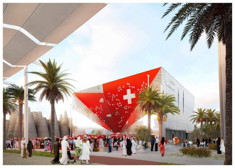 Swiss Pavilion - front view renderingThe selected project, Reflections, designed by OOS (architecture), Bellprat Partner (scenography) Lorenz Eugster (landscaping), built by Expomobilia. (general contractor). Courtesy Swiss Pavilion Expo 2020 Dubai