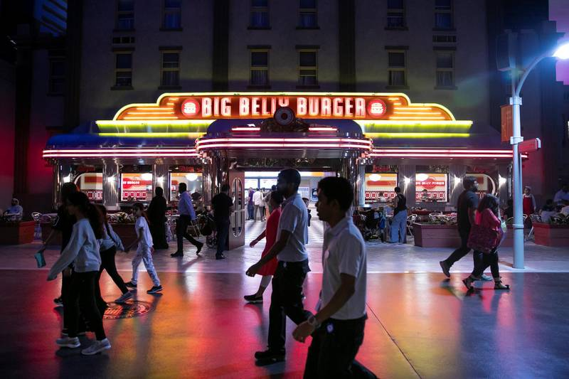 ABU DHABI, UNITED ARAB EMIRATES - JULY 24, 2018. Big Belly Burger restaurant in Warner Bros World Abu Dhabi.Almost 15,000 tickets for Warner Bros World Abu Dhabi have been sold ahead of opening to the public on Wednesday.(Photo by Reem Mohammed/The National)Reporter: Section: NA + AL