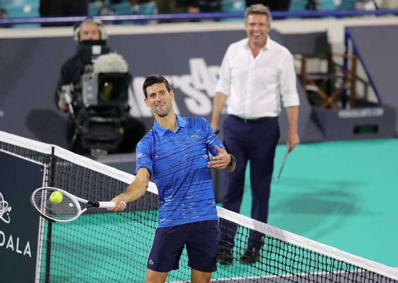Abu Dhabi, United Arab Emirates - Reporter: Jon Turner: Novak Djokovic celebrates winning the third place play-off between Novak Djokovic v Karen Khachanov at the Mubadala World Tennis Championship. Saturday, December 21st, 2019. Zayed Sports City, Abu Dhabi. Chris Whiteoak / The National