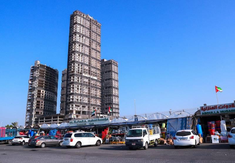 Abu Dhabi, United Arab Emirates, November 11, 2020.  Mina Plaza Towers which will be demolished on November 27, 2020.Victor Besa/The NationalSection:  NAFOR:  James and John