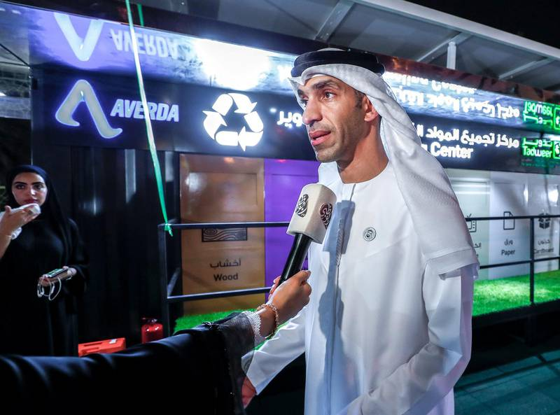 Abu Dhabi, U.A.E., July 3, 2018.  His Excellency Thani Ahmed Al-Zeyoudi, Minister of Climate Change and Environment talks to the media at the Al Khalidiya Park opening of the first civic amenity in Abu Dhabi to promote waste segregation at source. Victor Besa / The NationalReporter - Haneen DajaniSection:  NA