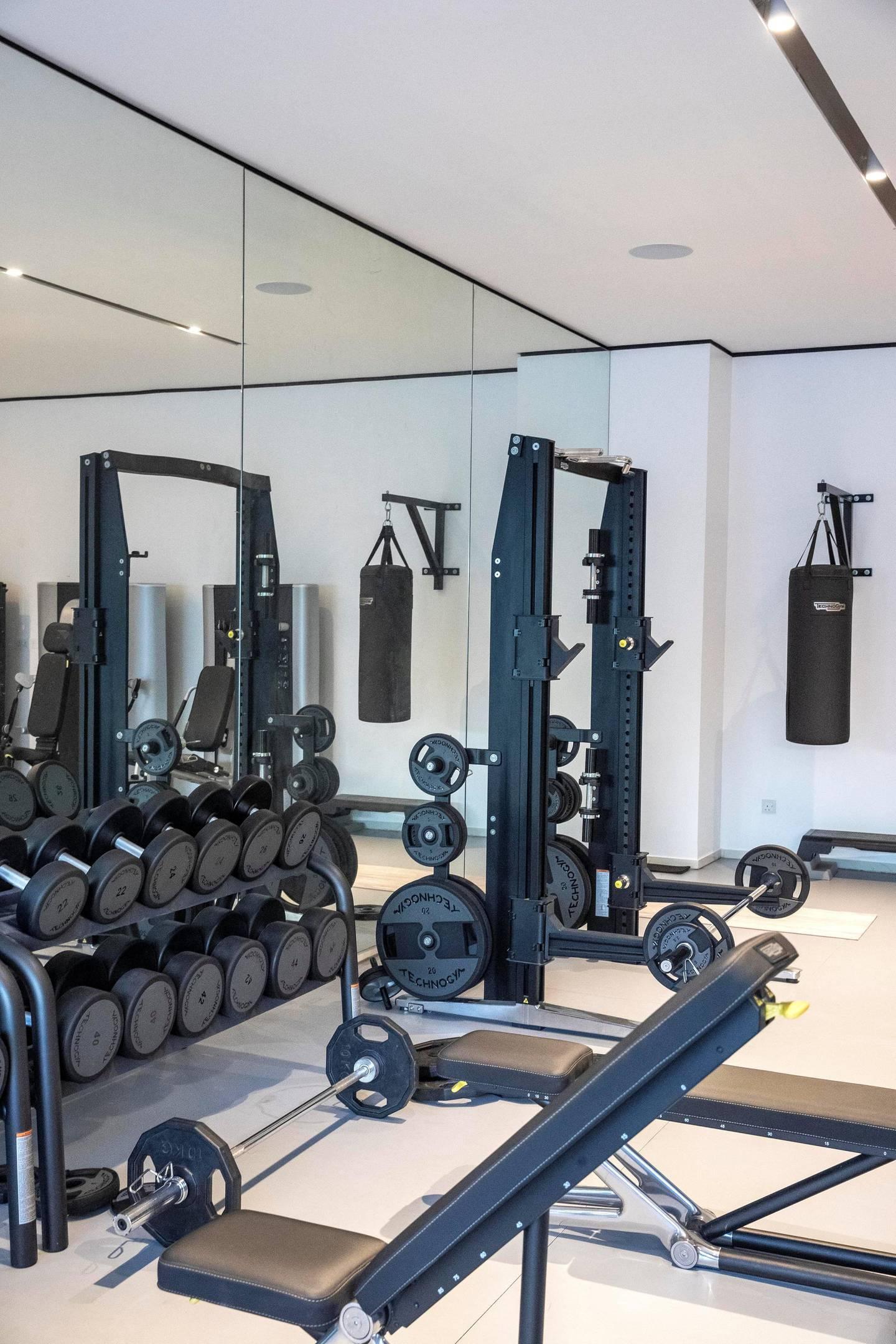DUBAI, UNITED ARAB EMIRATES. 19 OCTOBER 2020. Rags Arora's home gym in Dubai. (Photo: Antonie Robertson/The National) Journalist: David Section: Luxury.