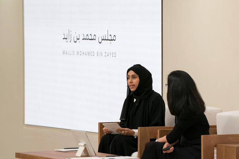 ABU DHABI, UNITED ARAB EMIRATES - May 23, 2018: HE Hessa Essa Buhumaid, UAE Minister of Community Development (2nd R), speaks, during a lecture by Angela Duckworth (R), titled 'True Grit: The Surprising, and Inspiring Science of Success', at Majlis Mohamed bin Zayed. (Mohamed Al Hammadi / Crown Prince Court - Abu Dhabi ) ---