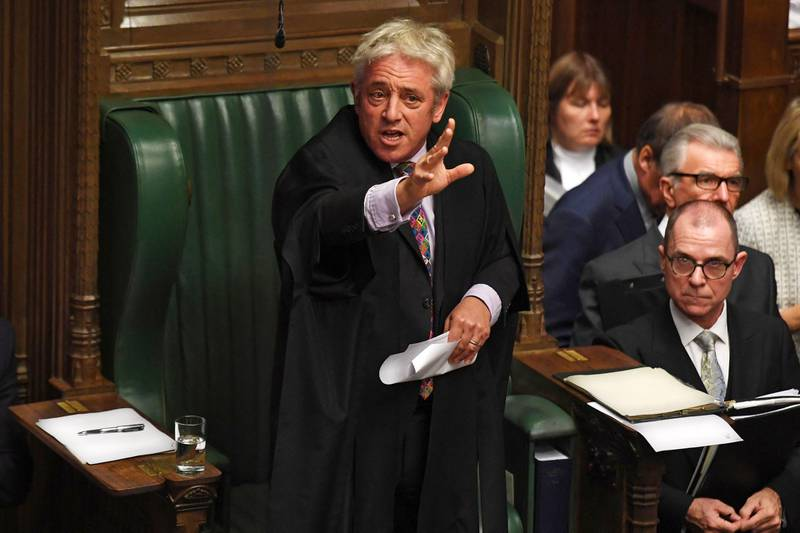 """(FILES) In this file handout photo taken on October 21, 2019, released by the UK Parliament, UK Parliament Speaker John Bercow speaks in the House of Commons in London on the European Union (EU) Withdrawal Act 2018 Motion. The colourful former speaker of Britain's House of Commons John Bercow said he has left the Conservatives to join the opposition Labour Party, saying the country is """"sick of lies"""" under Prime Minister Boris Johnson. In an interview with the Observer newspaper published on June 20, the former MP said the Conservative Party under Johnson was """"reactionary, populist, nationalistic and sometimes even xenophobic"""". - RESTRICTED TO EDITORIAL USE - NO USE FOR ENTERTAINMENT, SATIRICAL, ADVERTISING PURPOSES - MANDATORY CREDIT """" AFP PHOTO / Jessica Taylor /UK Parliament""""  / AFP / UK PARLIAMENT / JESSICA TAYLOR / RESTRICTED TO EDITORIAL USE - NO USE FOR ENTERTAINMENT, SATIRICAL, ADVERTISING PURPOSES - MANDATORY CREDIT """" AFP PHOTO / Jessica Taylor /UK Parliament"""""""