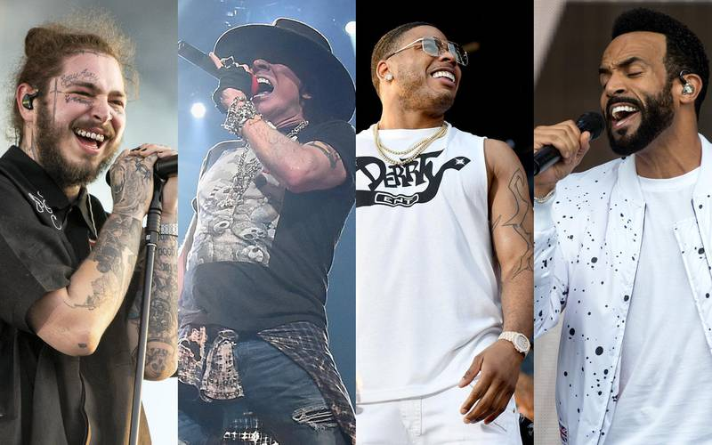 Post Malone, Axl Rose, Nelly, and Craig David. Getty Images and AFP