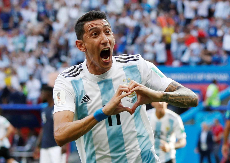 Soccer Football - World Cup - Round of 16 - France vs Argentina - Kazan Arena, Kazan, Russia - June 30, 2018  Argentina's Angel Di Maria celebrates scoring their first goal   REUTERS/John Sibley