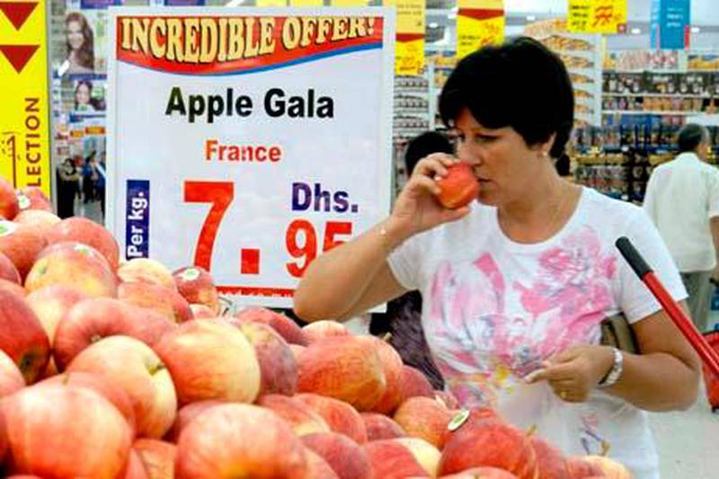 Dubai, United Arab Emirates - November 1, 2010 -- Food prices at Carrefour, Deria City Centre. Duncan Chard for the Nationalinflation grocery groceries produce fruit  shop shopping shoppers