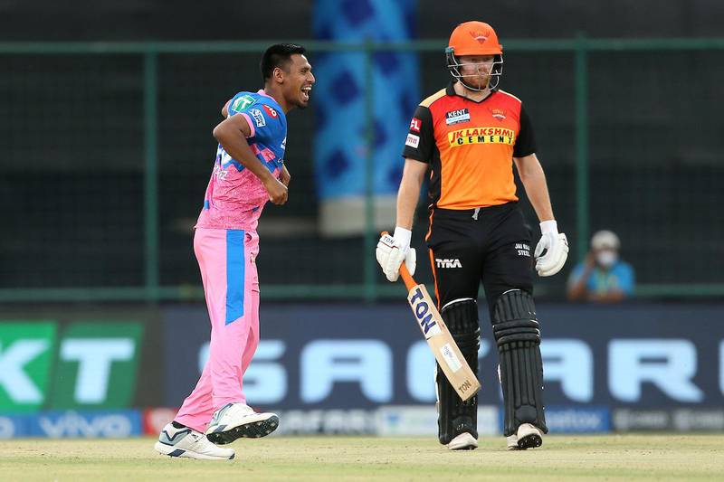 Mustafizur Rahman of Rajasthan Royals celebrates the wicket of Manish Pandey of Sunrisers Hyderabad during match 28 of the Vivo Indian Premier League between the Rajasthan Royals and the Sunrisers Hyderabad held at the Arun Jaitley Stadium, Delhi, India on the 2nd May 2021Photo by Ron Gaunt / Sportzpics for IPL