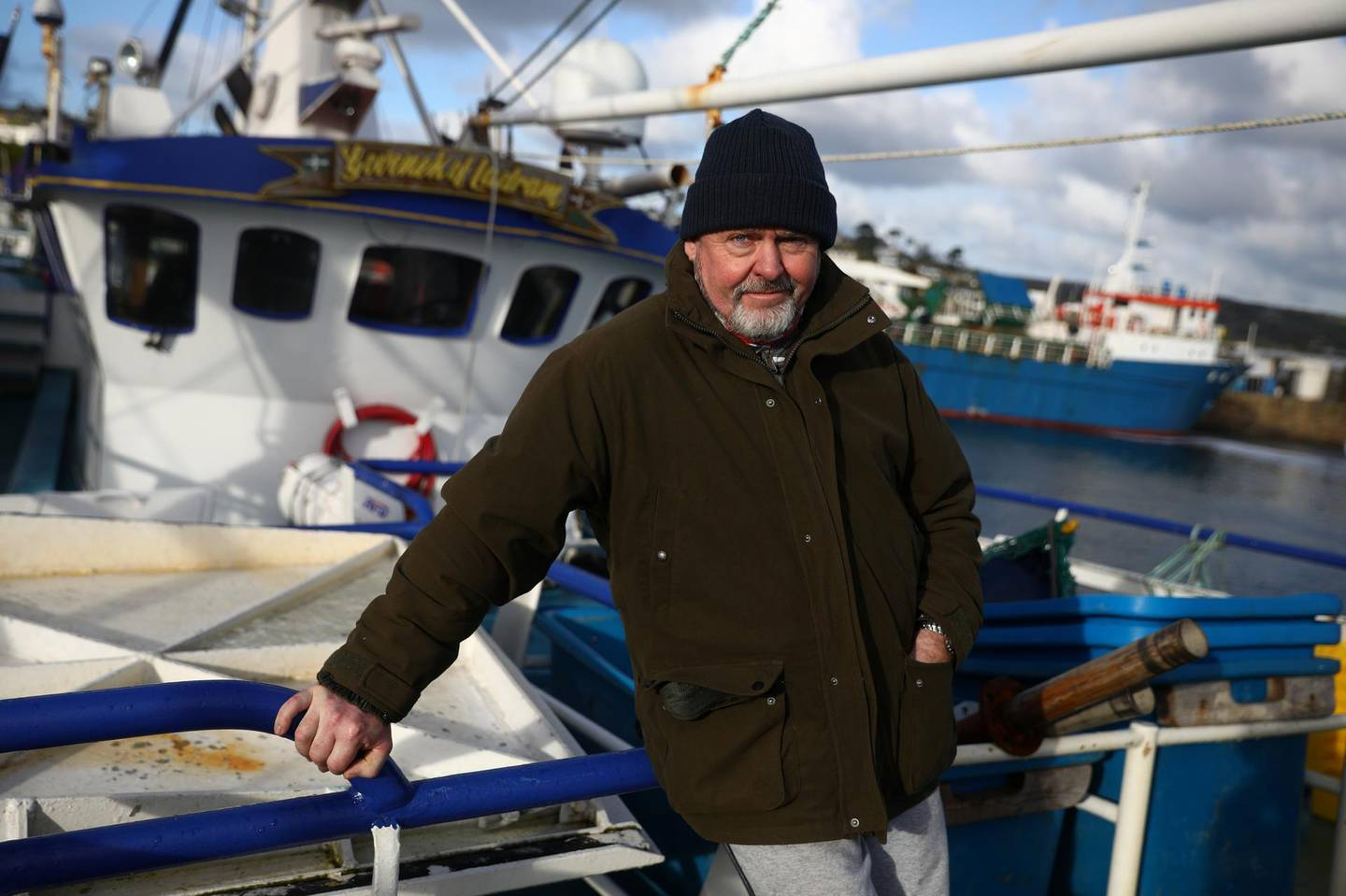 Phil Mitchell, the skipper of Govenek of Ladram fishing boat, poses for a portrait in Penzance Harbour, Britain, December 29, 2020. Picture taken December 29, 2020. REUTERS/Tom Nicholson