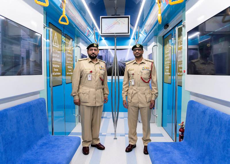 DUBAI, UNITED ARAB EMIRATES. 15 NOVEMBER 2020. Captain Yaqoub Saleh, left, and Captain Wahid Faraj at Hamdan Smart Station for Simulation and Training. The training facility of the Transport Security Department in Dubai aims to enhance security efforts and increase the readiness of security and law enforcement personnel. Equipped with the latest tools, the station utilises virtual reality and simulation technologies to provide comprehensive scenario-based emergency training.(Photo: Reem Mohammed/The National)Reporter:Section: