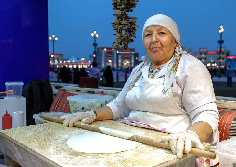Abu Dhabi, United Arab Emirates, January 5, 2020.  Photo essay of Global Village.-- Elif Ordu, 63, Turkey.  Has benn working for the K-14 Turkish pastry stall at the Global Village for ten years now.Victor Besa / The NationalSection:  WKReporter:  Katy Gillett