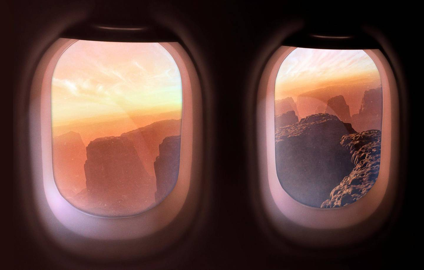 The surface of Mars, as glimpsed through the windows of a craft, some time in the future. Mars is the most Earth-like planet in the known Solar System; it is the target of much research, and a potential venue for a permanent colony of humans. This scene perhaps imagines a future where the planet has been colonised and tourists are able to visit the planet in specially adapted aerial craft. Or maybe this is the view from an incoming craft, bringing more people to live on Mars.