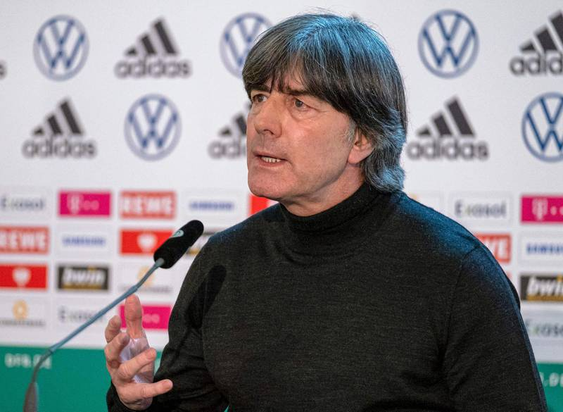 """This handout photo released and taken by the DFB (Deutscher Fussball-Bund) on March 11, 2021, shows Germany's national football team head coach Joachim Loew addressing a press conference in Frankfurt am Main, Germany.  Germany's World Cup-winning head coach Joachim Loew will step down after the European championships in July 2021, the German Federation had announced on March 9, 2021. - RESTRICTED TO EDITORIAL USE - MANDATORY CREDIT """"AFP PHOTO /DFB/Thomas BOECKER """" - NO MARKETING - NO ADVERTISING CAMPAIGNS - DISTRIBUTED AS A SERVICE TO CLIENTS  / AFP / DFB (German Football Federation) / RESTRICTED TO EDITORIAL USE - MANDATORY CREDIT """"AFP PHOTO /DFB/Thomas BOECKER """" - NO MARKETING - NO ADVERTISING CAMPAIGNS - DISTRIBUTED AS A SERVICE TO CLIENTS"""
