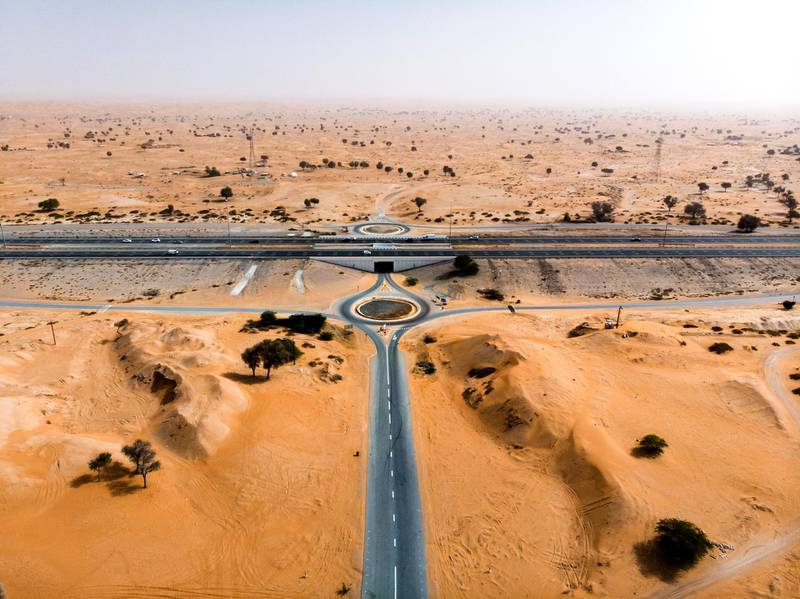Desert road patterns aerial view. Getty Images