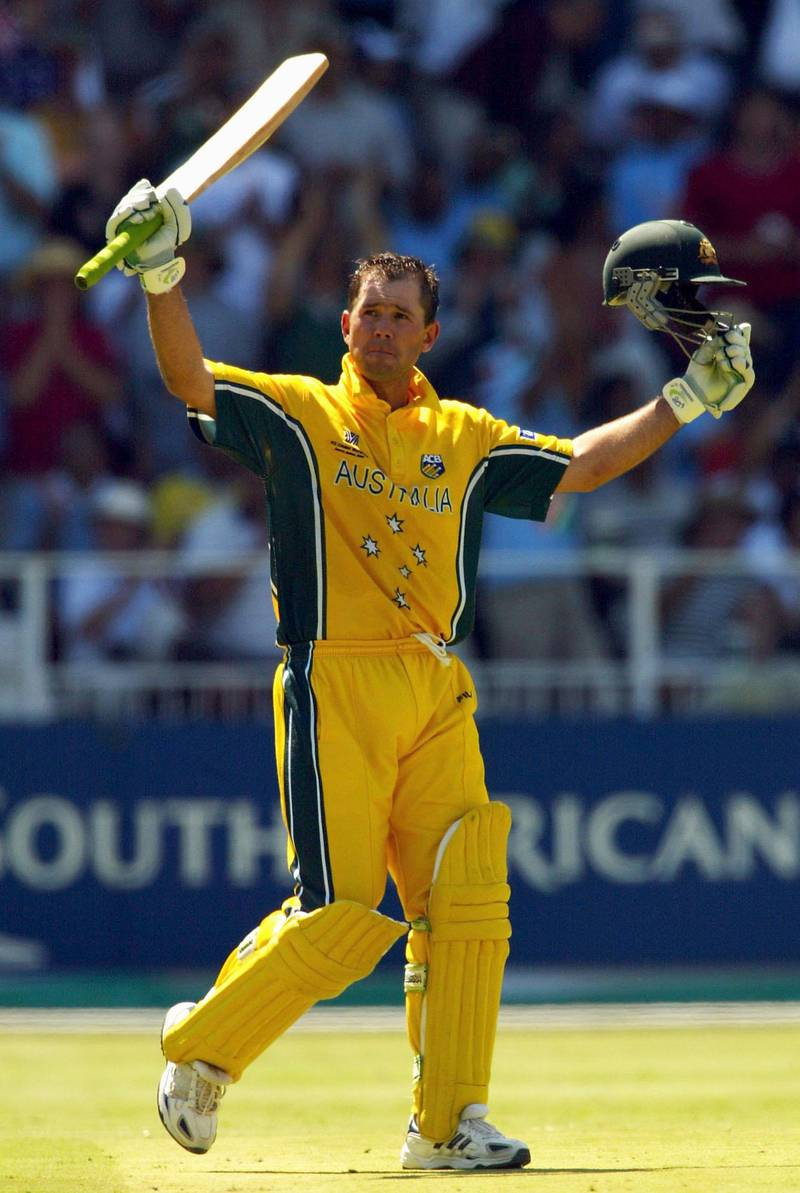 JOHANNESBURG- MARCH 23:  Ricky Ponting of Australia celebrates his century during the World Cup Final One Day International Match between Australia and India played at the Wanderers, Johannesburg, South Africa, on March 23, 2003. (Photo by Hamish Blair/Getty Images)