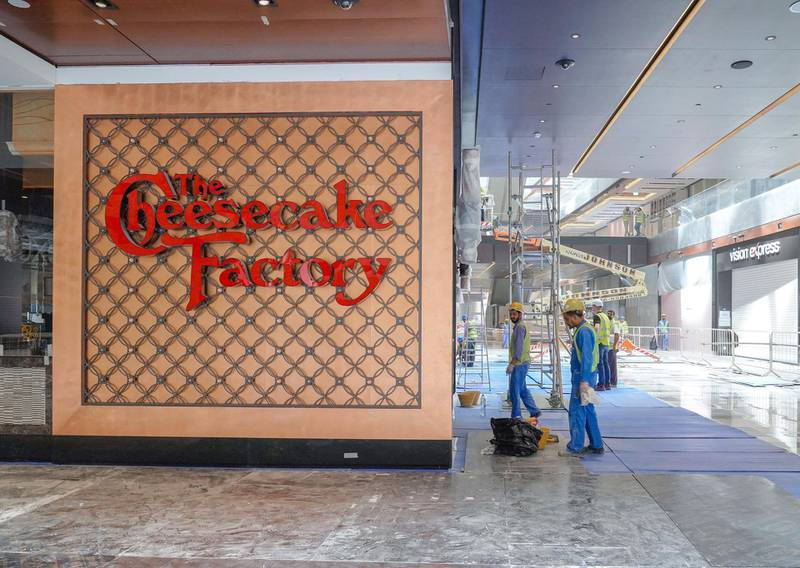 Abu Dhabi, United Arab Emirates, July 25, 2019. Exclusive tour of new expansion of Galleria, Abu Dhabi. --  Store front of The Chessecake Factory.Victor Besa/The NationalSection:  IFReporter:  Panna Munyal