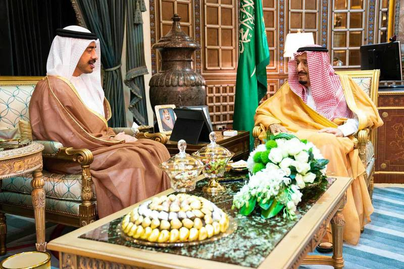 RIYADH, 30th October, 2019 (WAM) -- The Custodian of the Two Holy Mosques, King Salman bin Abdulaziz Al Saud, today received Sheikh Abdullah bin Zayed, Minister of Foreign Affairs and International Cooperation. MOFAIC / Wam