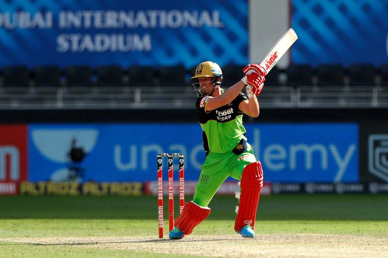 AB de Villiers of Royal Challengers Bangalore batting during match 44 of season 13 of the Dream 11 Indian Premier League (IPL) between the Royal Challengers Bangalore and the Chennai Super Kings held at the Dubai International Cricket Stadium, Dubai in the United Arab Emirates on the 25th October 2020.  Photo by: Saikat Das  / Sportzpics for BCCI