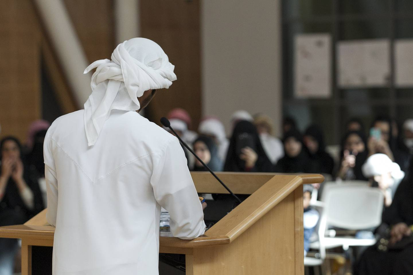 Abu Dhabi, United Arab Emirates. December 26, 2013///  Students saying their final speeches. Tech Quest Expo - students explaining the 6 modules to anyone who visits what they learned and did during that module. Last day of Tech Quest which is a youth engagement initiative designed to recruit, inspire and develop the UAEÕs best national talent, creating the science and technology pioneers of tomorrow. Masdar Institute, Abu Dhabi, United Arab Emirates. Mona Al-Marzooqi/ The National   Reporter: Ayesha Al Khoori Section: National   *** Local Caption ***  131226-MM-Techquest-007.JPG